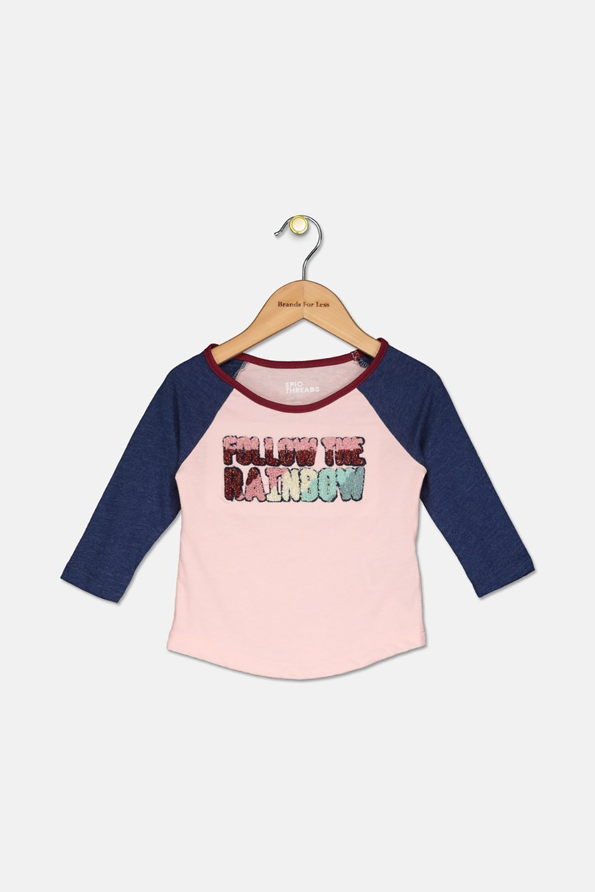 Baby Girl Raglan Sleeves Tops, Pink/Navy