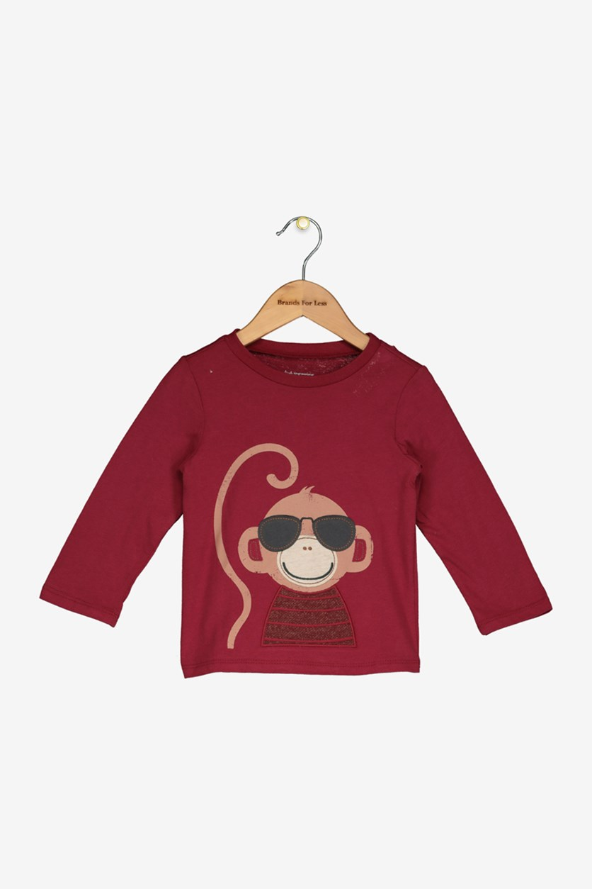 Baby Boys Monkey Graphic T-Shirt, Claret