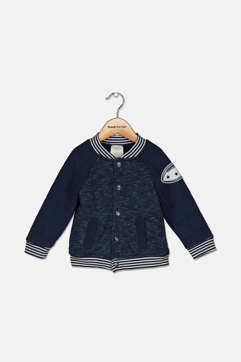 Baby Boys Quilted Varsity Jacket, Navy Heather