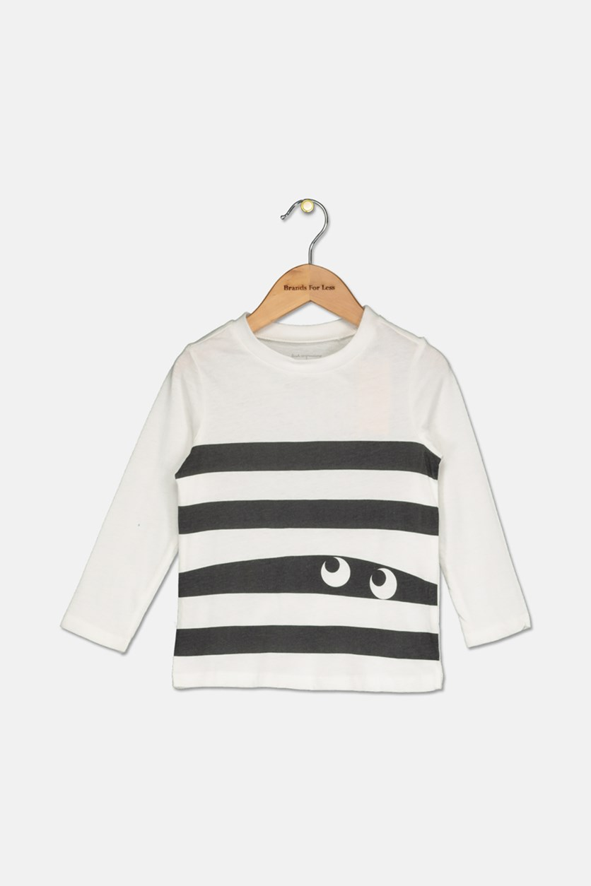 Toddler Boys Monster Stripe T-Shirt, Angel White