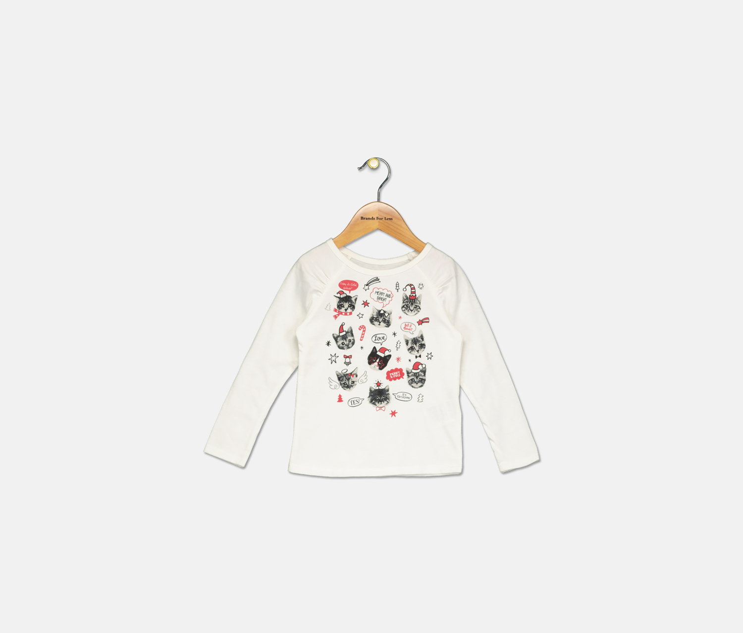 Toddler Girls Cat-Print T-Shirt, Holiday Ivory