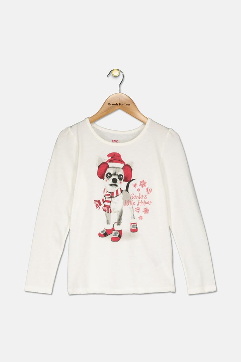 Kids Girls Graphic Tee, Holiday Ivory