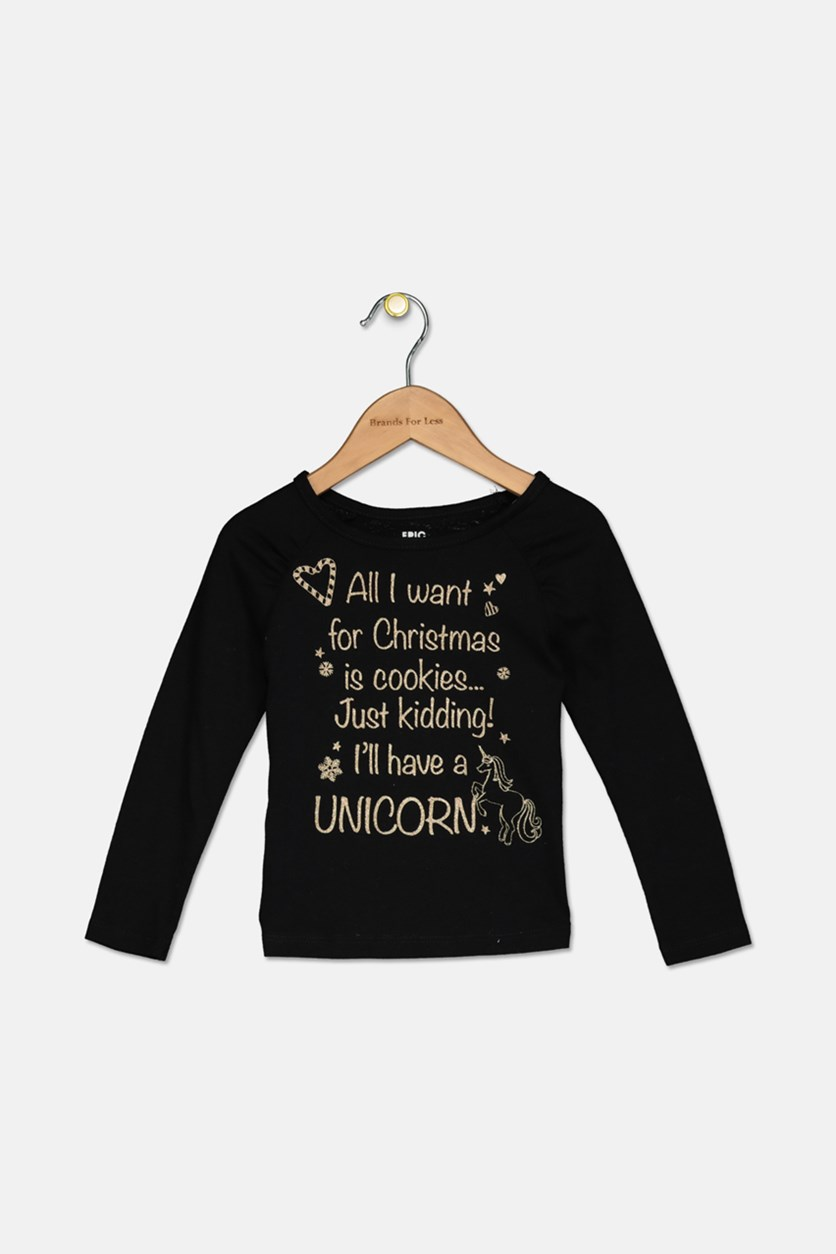 Little Girl's Long Sleeves Shirt, Black