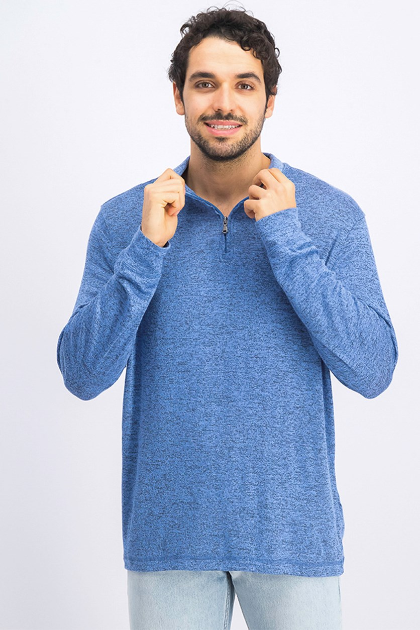 Mens Quarter-Zip Sweater, Blue Yonder