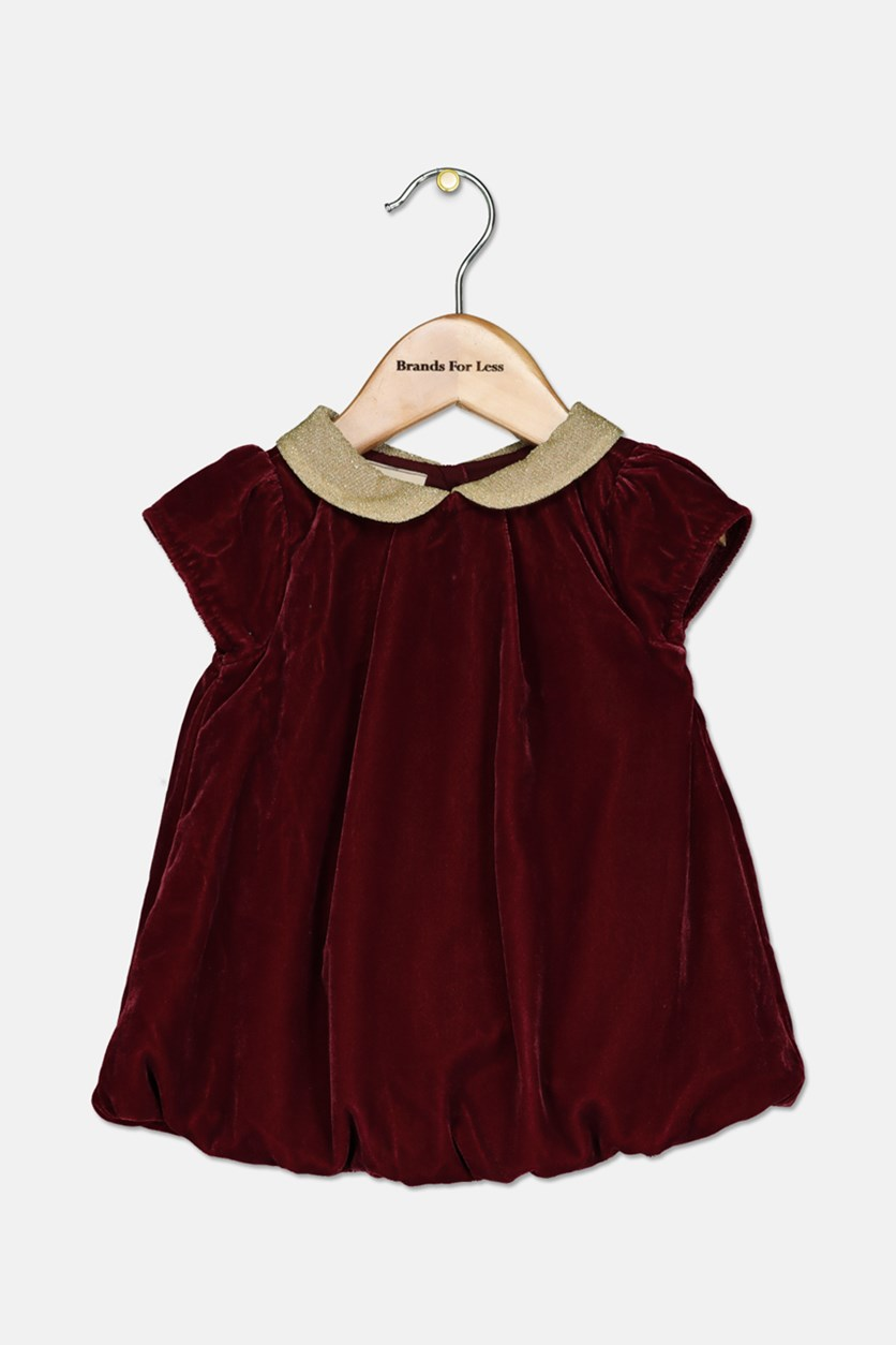 Baby Girls Metallic Velvet Peter Pan Collar Bubble Dress, Maroon