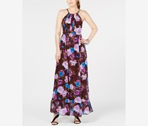 Womens Chiffon Floral Print Maxi Dress, Cloud Burst