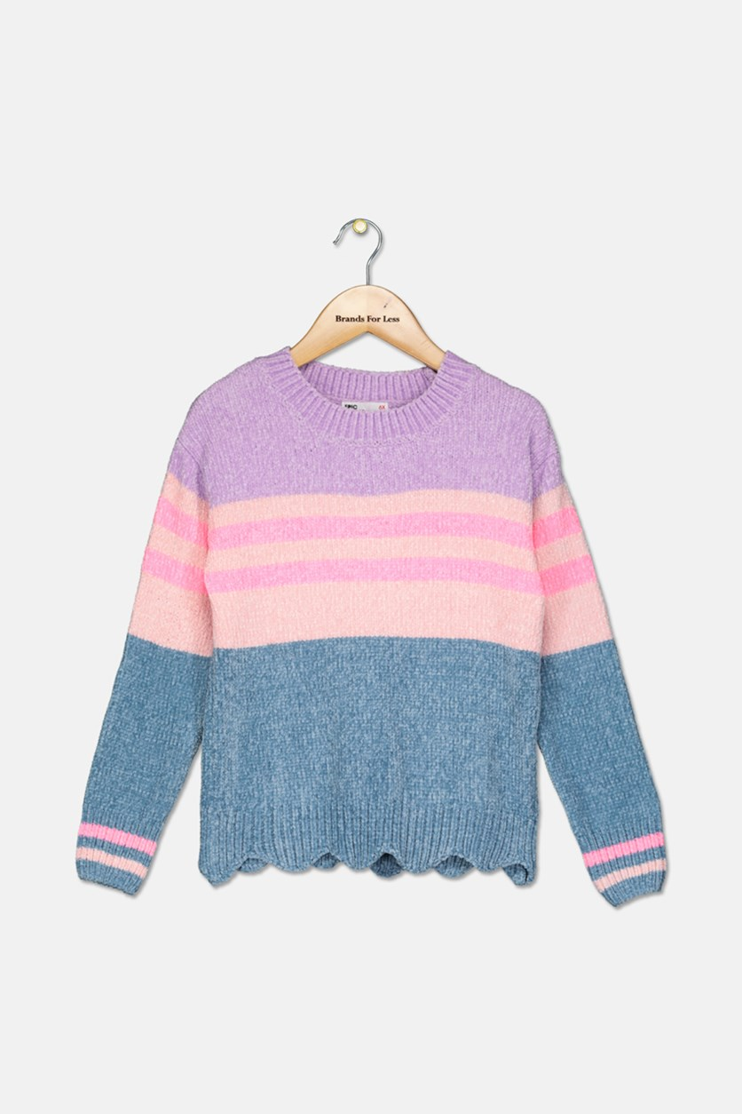 Kid's Girls Scalloped-Hem Sweater, Orchid Bloom