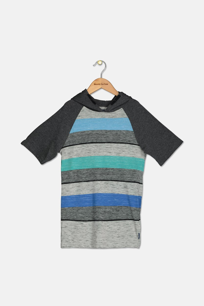 Boys Striped Raglan-Sleeve Hoodie, Black Combo