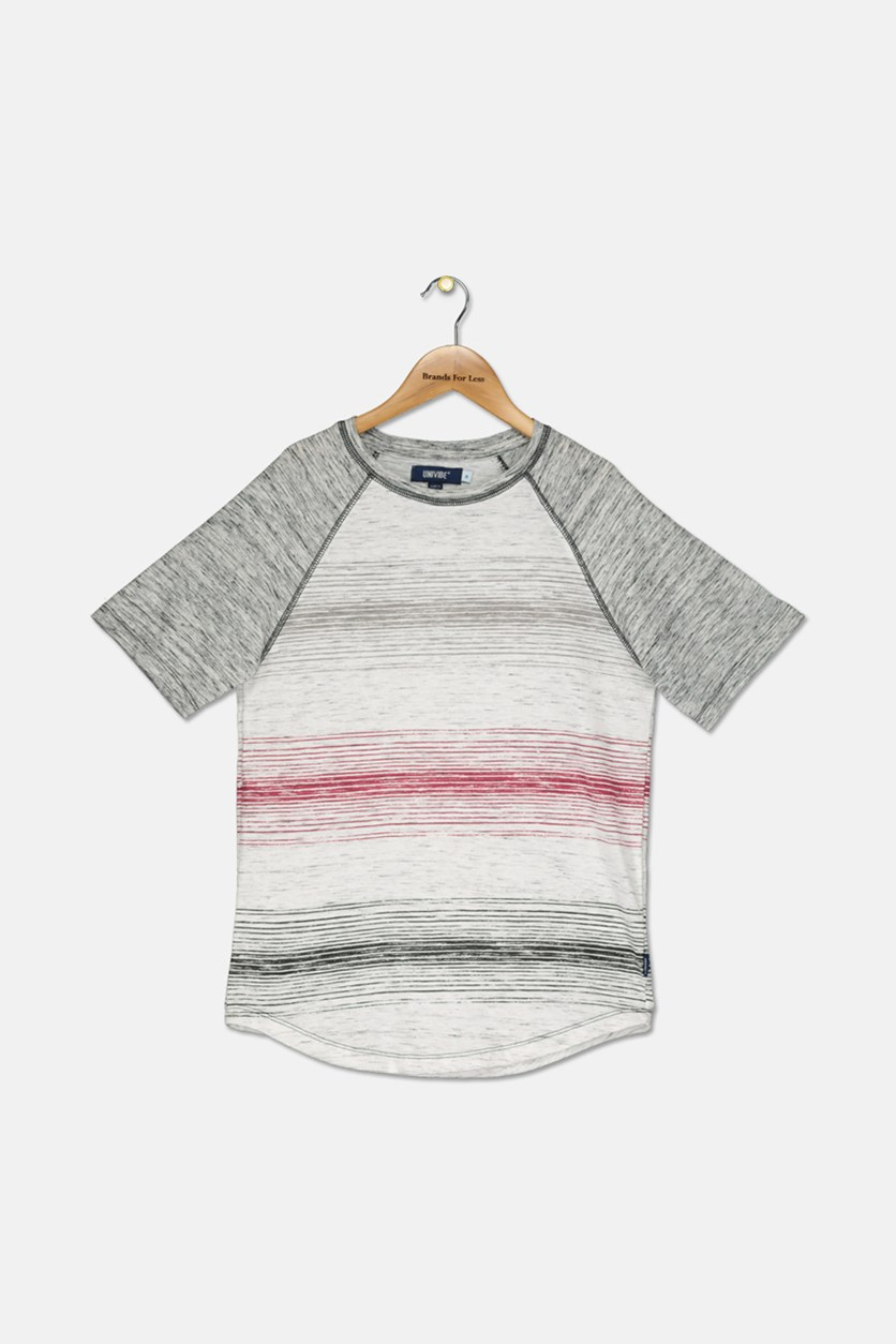 Big Boys Delano Stripe Raglan T-Shirt, Gray Combo