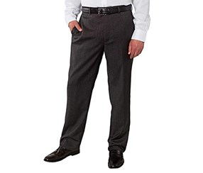 Kirkland Signature Men's Wool Flat Front Dress Pant, Charcoal