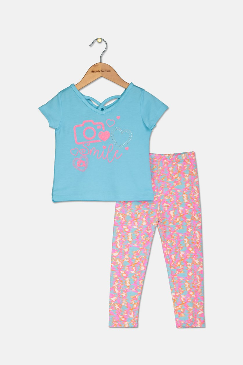Toddler Girl's Fashion Top And Legging Set, Blue/Pink Combo