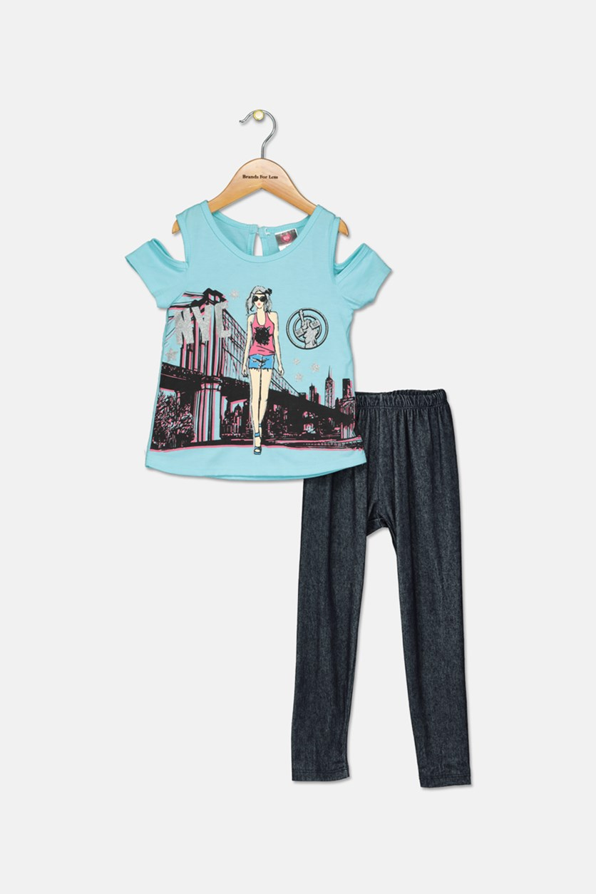 Toddler Girls 2 Piece Graphic Top & Leggings Set, Turquoise/Navy Combo
