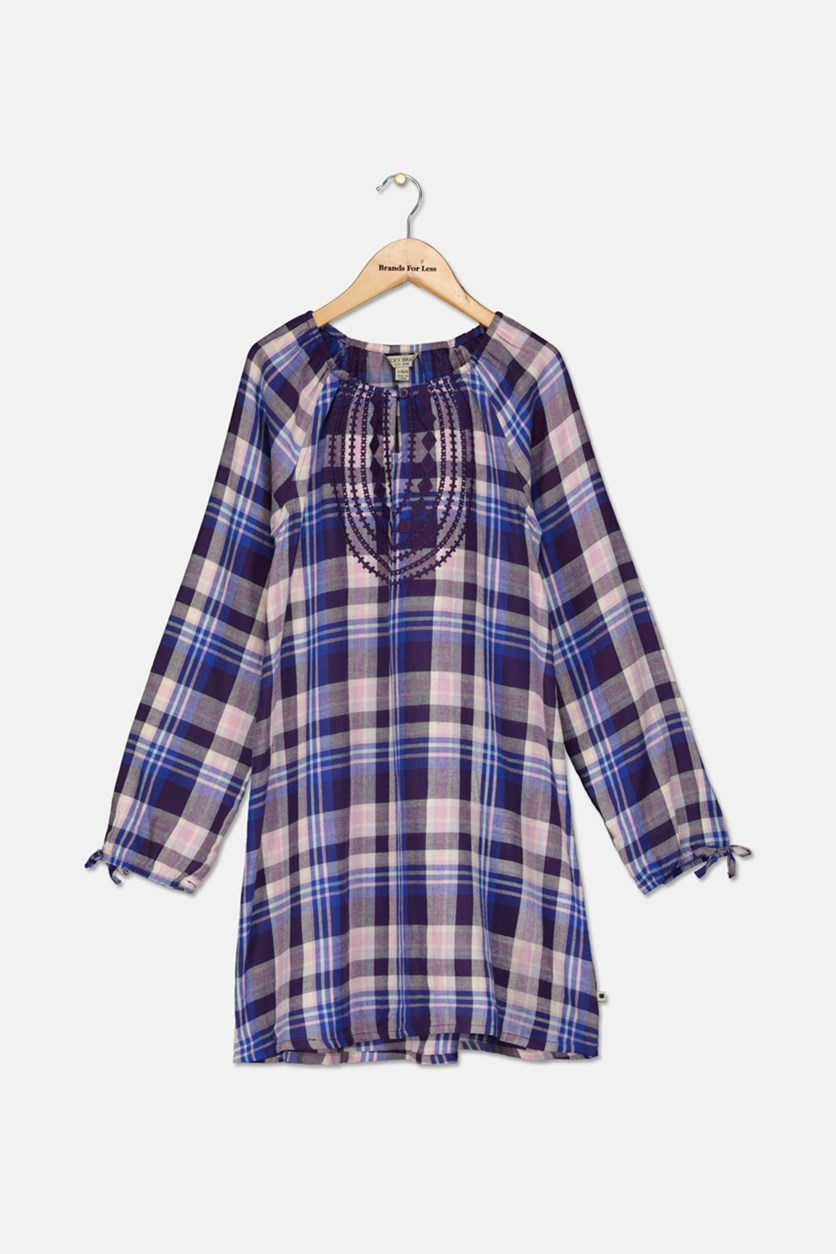 Girls Sarah Plaid Dress, Crown Jewel