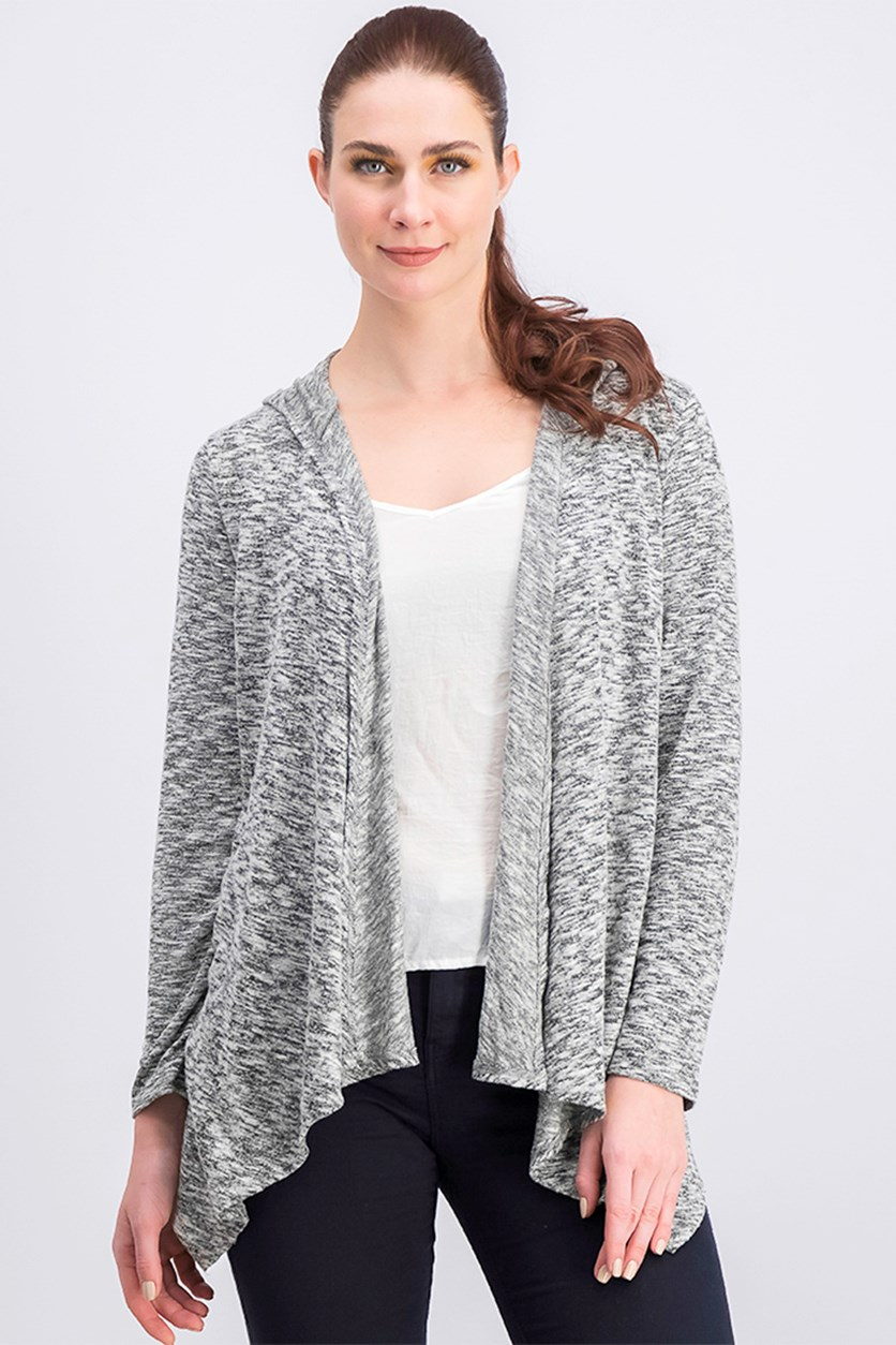 Women's Heather Hoodie Sweater, Grey Combo