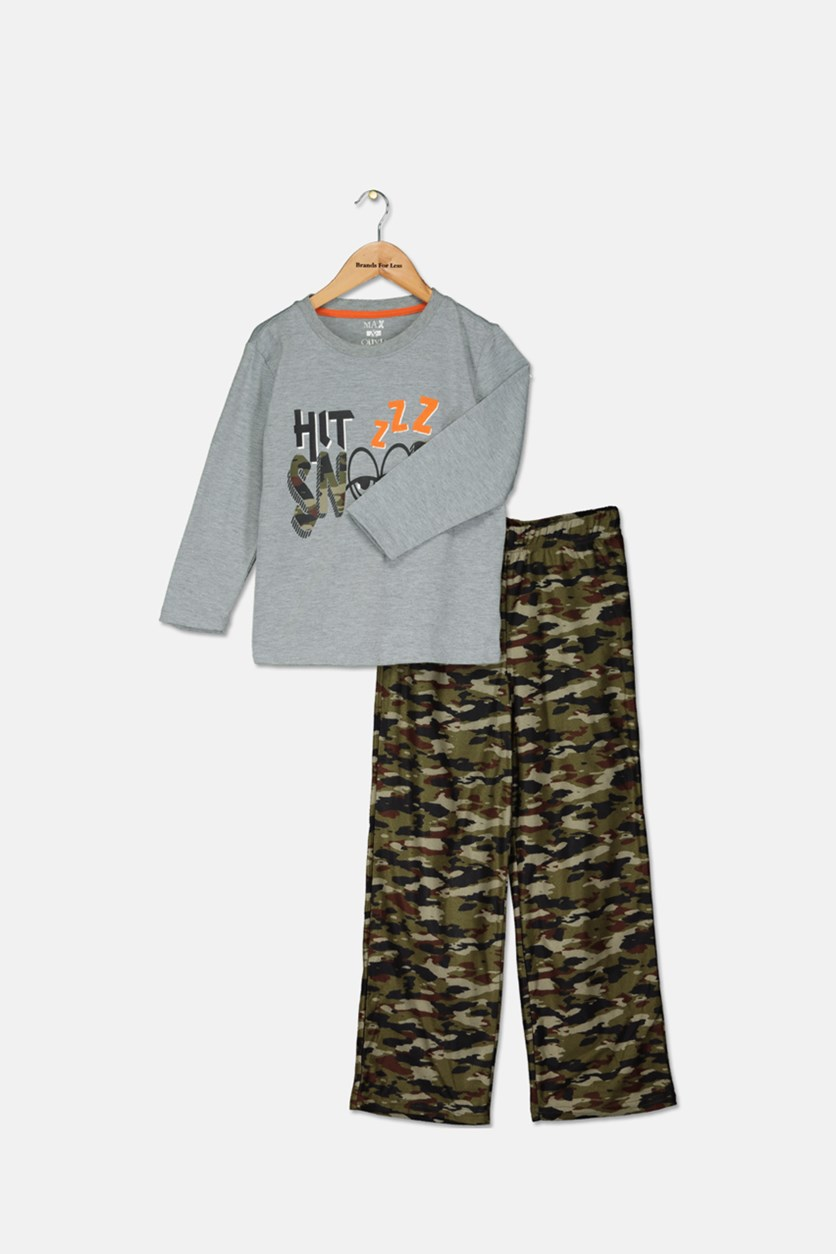 Little Boys 2-Pc. Snooze Pajama Set, Grey/Green