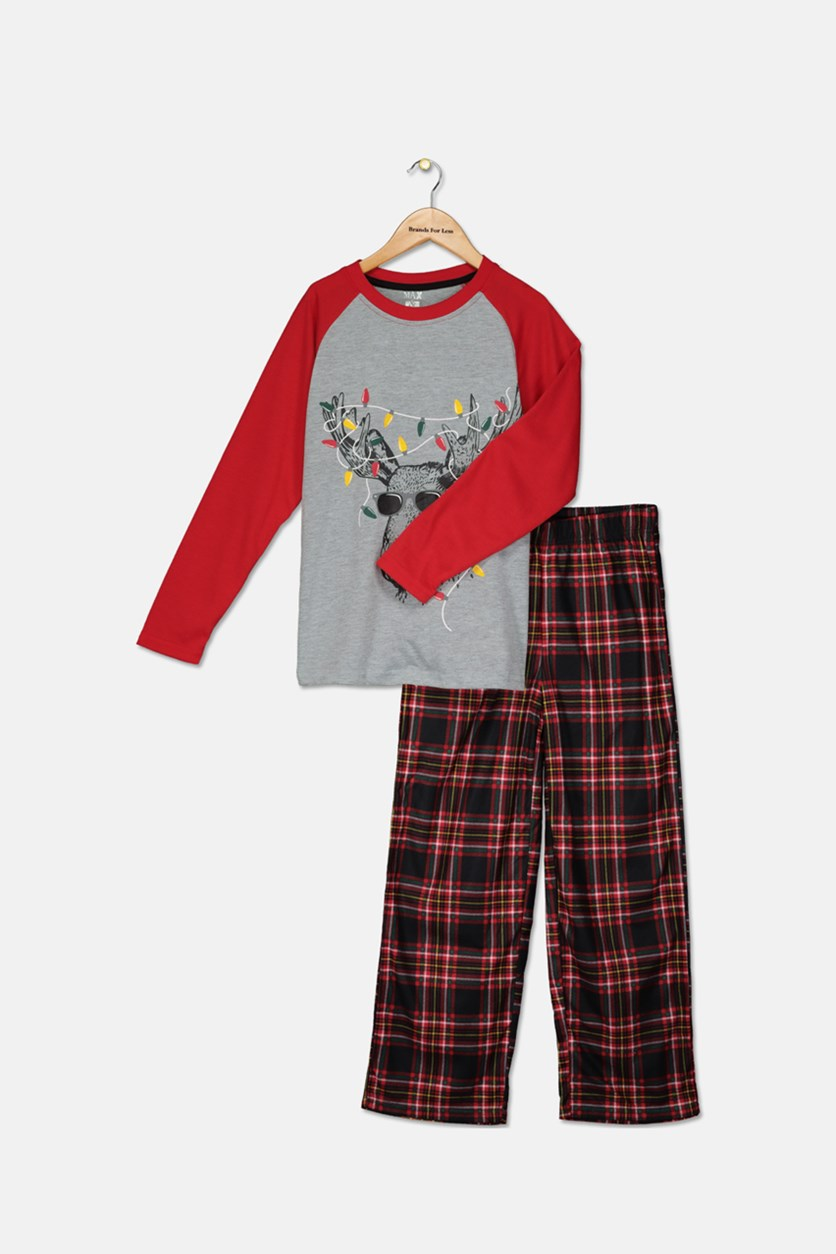 Boys 2-Pc. Moose in Lights Pajamas Set, Red/Grey Combo