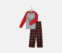 Max & Olivia Boys 2-Pc. Moose in Lights Pajamas Set, Red/Grey Combo