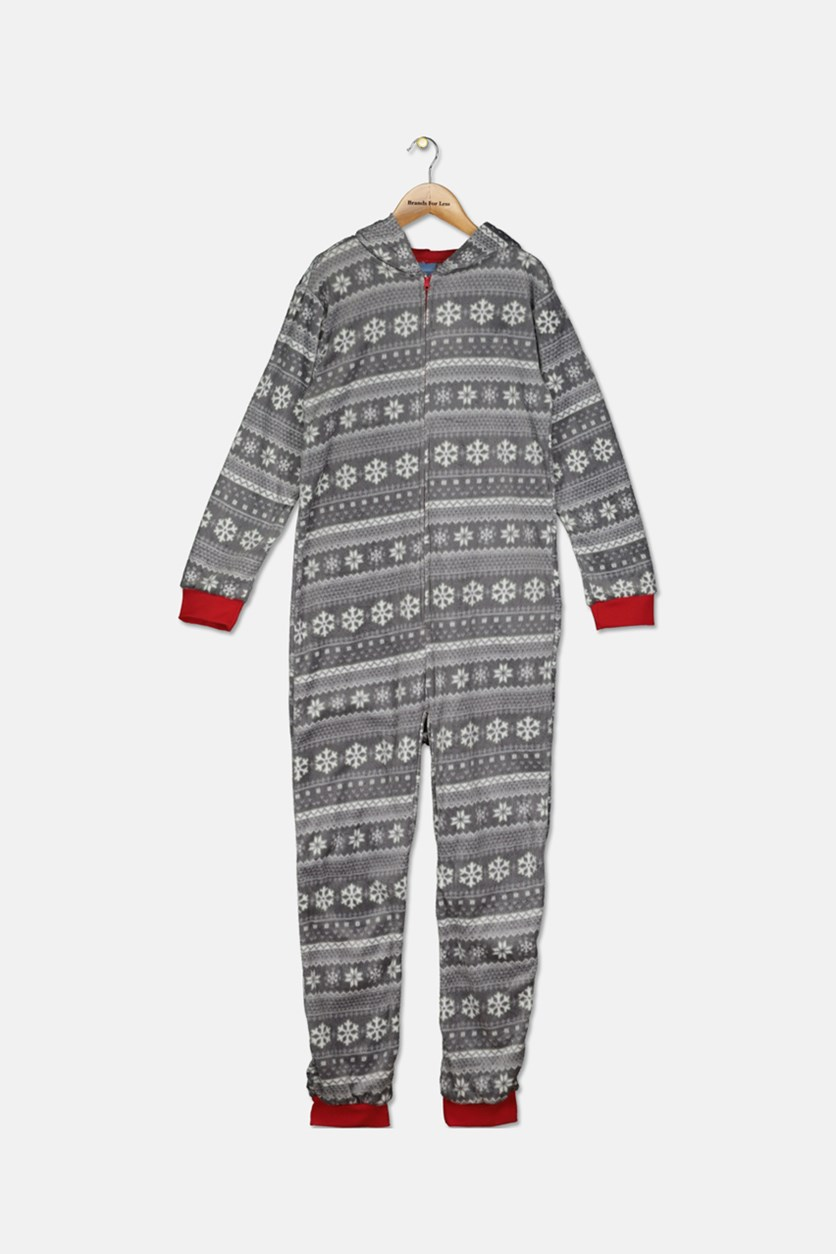 Boys Fair Isle Yeti Hooded Overall Pajama, Grey Combo