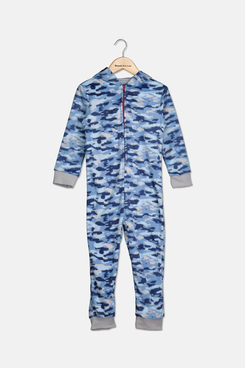 Boy's Camo-Print Shark Hooded Onesie, Blue