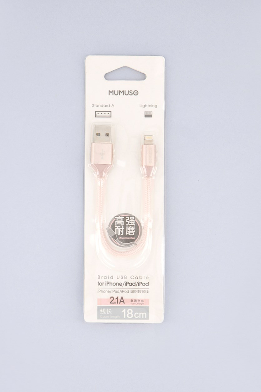 Braid USB Cable For Iphone/Ipad/Ipod - 18 cm, Rose Gold
