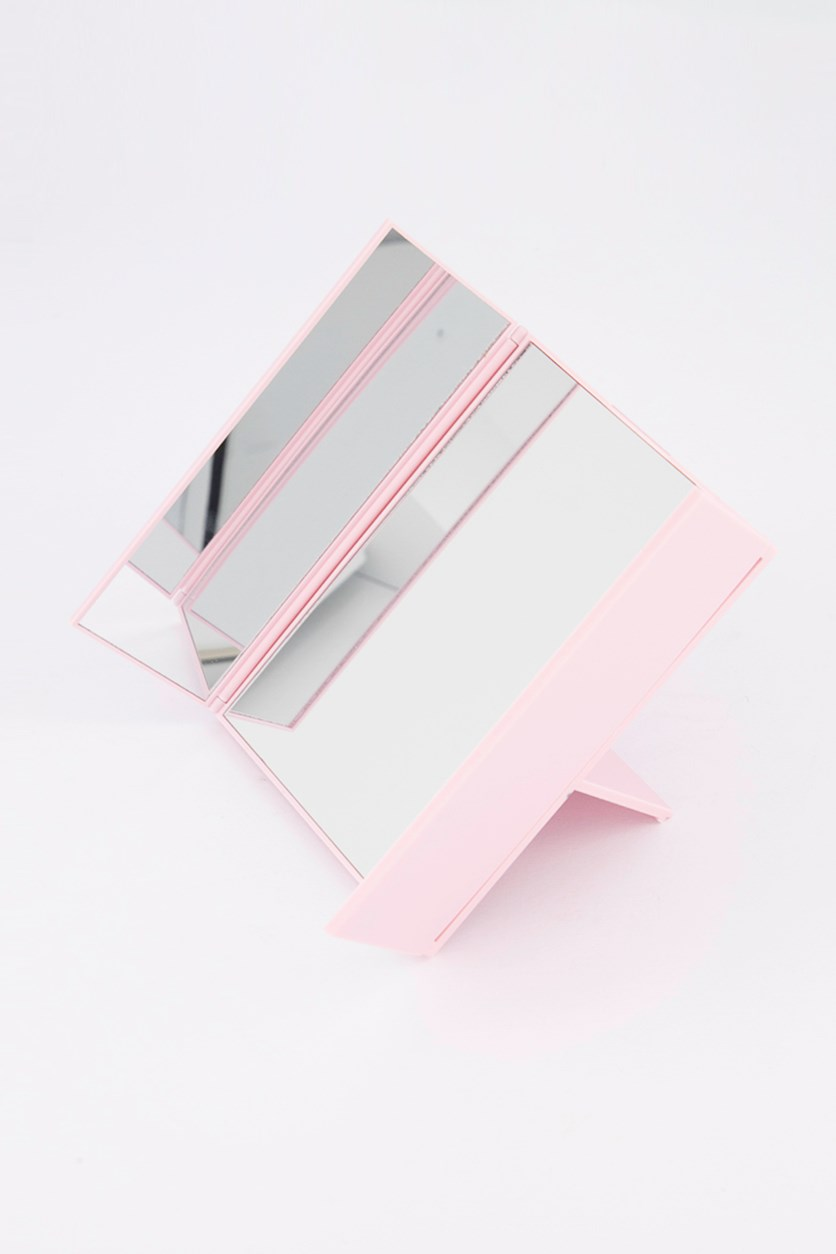Tri fold Table Mirror, Pink
