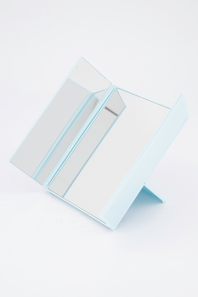 Tri fold Table Mirror, Light Blue