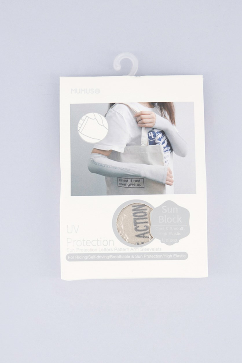 Sun Protection Letters Pattern Arm Sleevelets, Gray