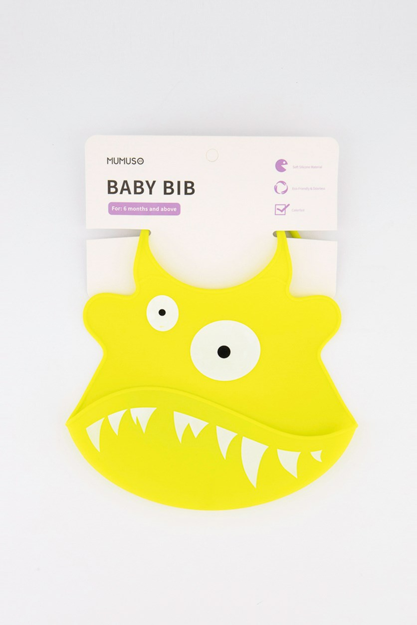 Little Monster Adjustable Silicone Baby Bib, Lime Green