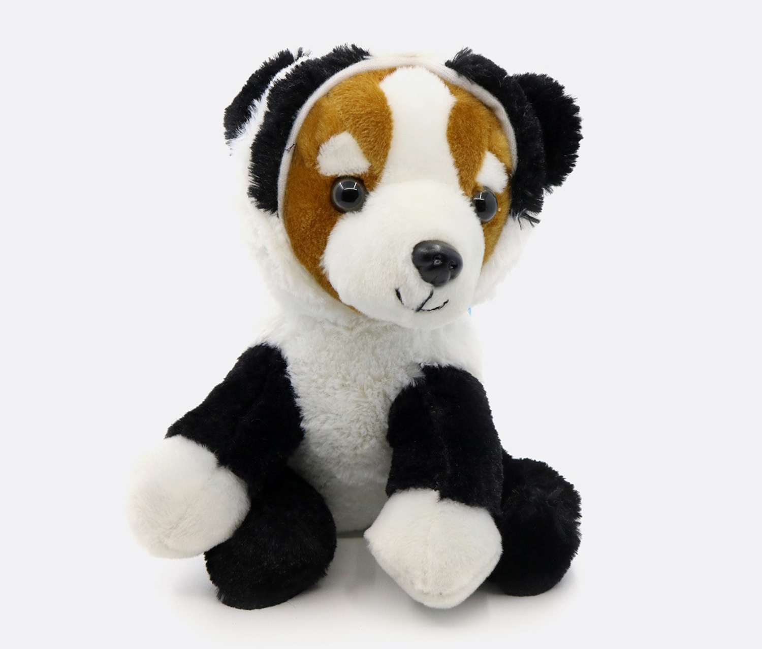 Plush Toy-Cute Dog, Black/White/Tan
