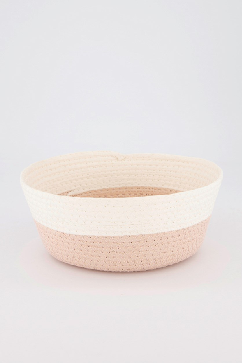 Small Round Storage Basket, Pink/White