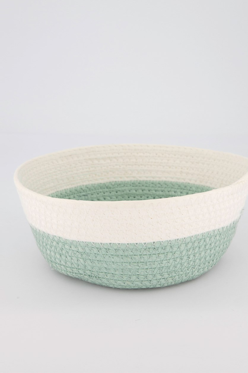 Small Round Storage Basket, Green/White