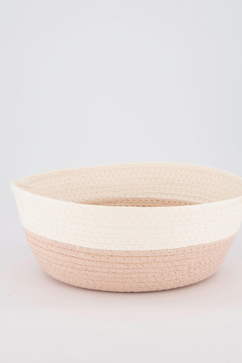 Medium Round Storage Basket, Pink/White