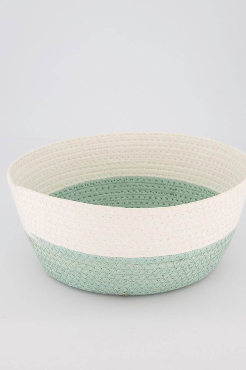 Medium Round Storage Basket, Green/White