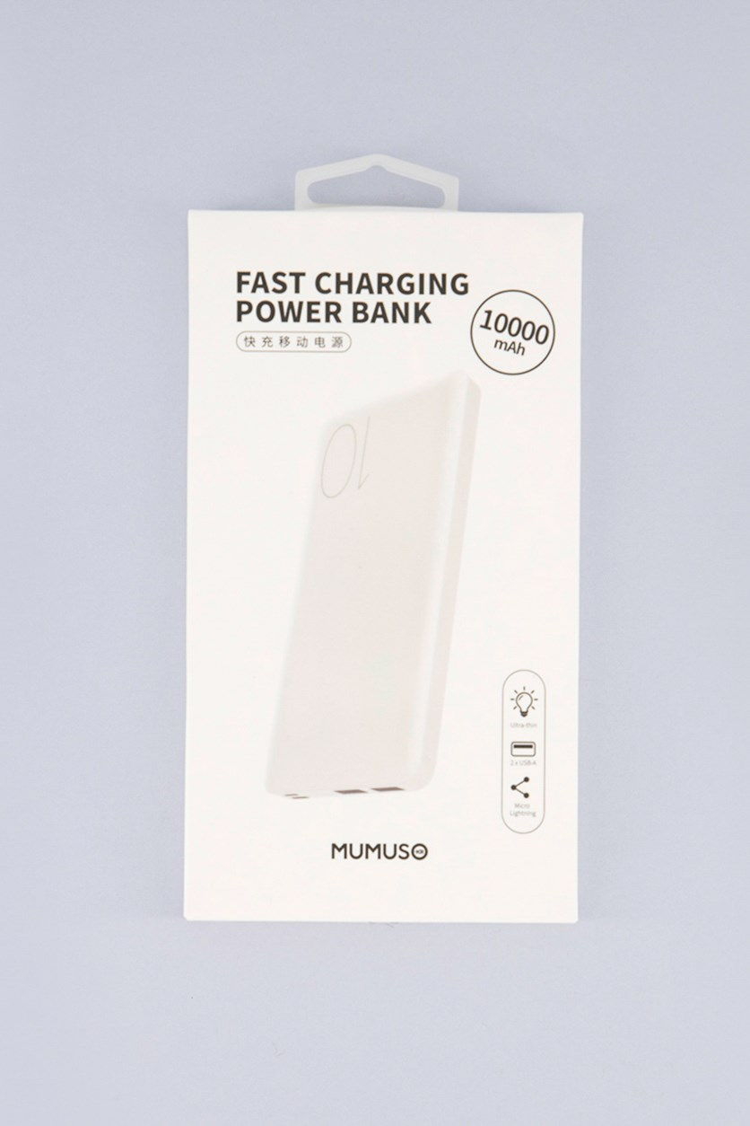 2.1A Fast Charging Power Bank-10000mAH, White