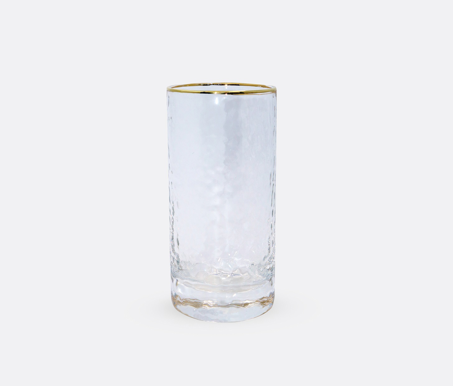 Glass Cup Rippled Surface, Transparent/Gold