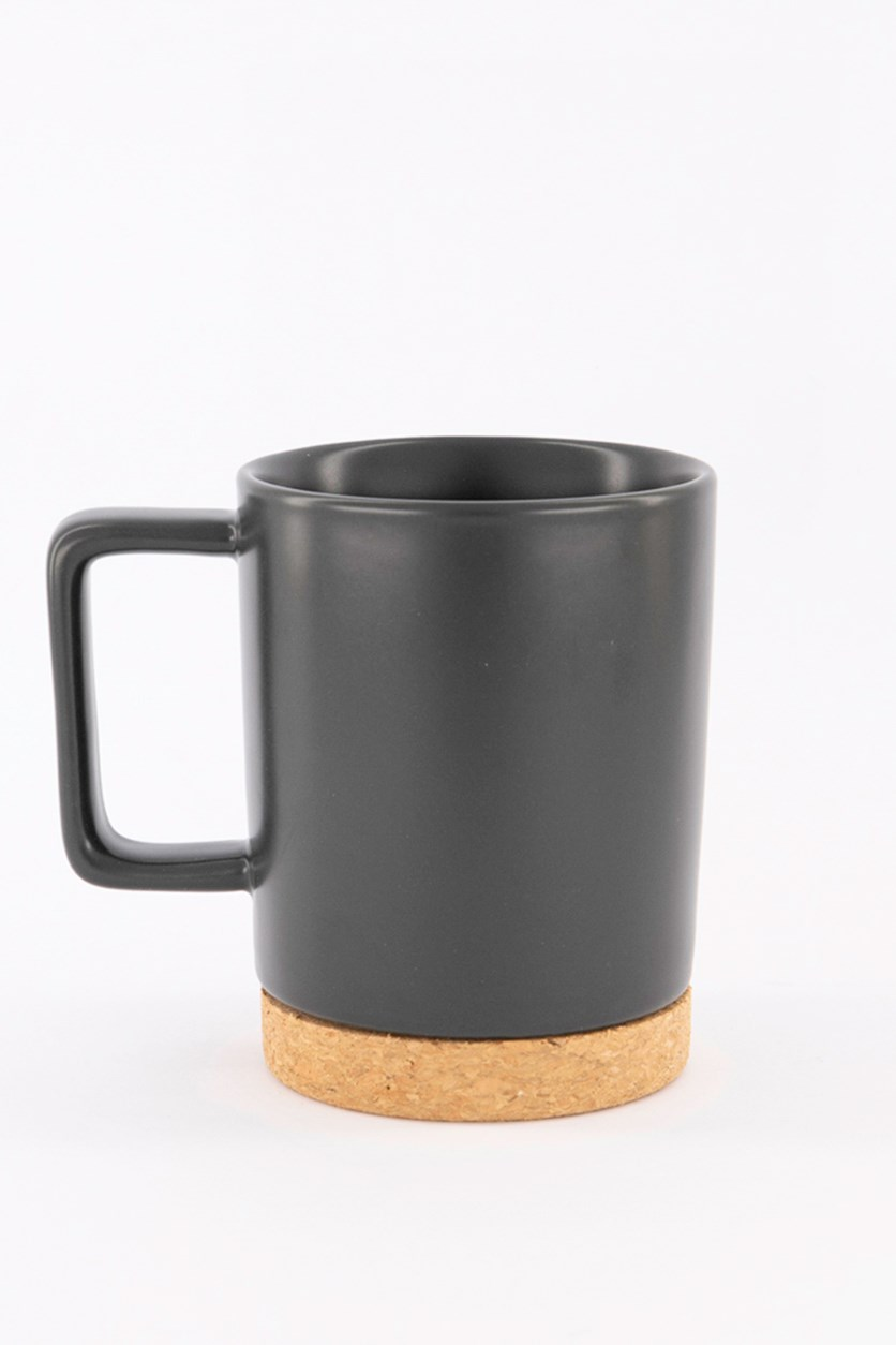 Wooden Bottom Ceramic Cup, Dark Gray