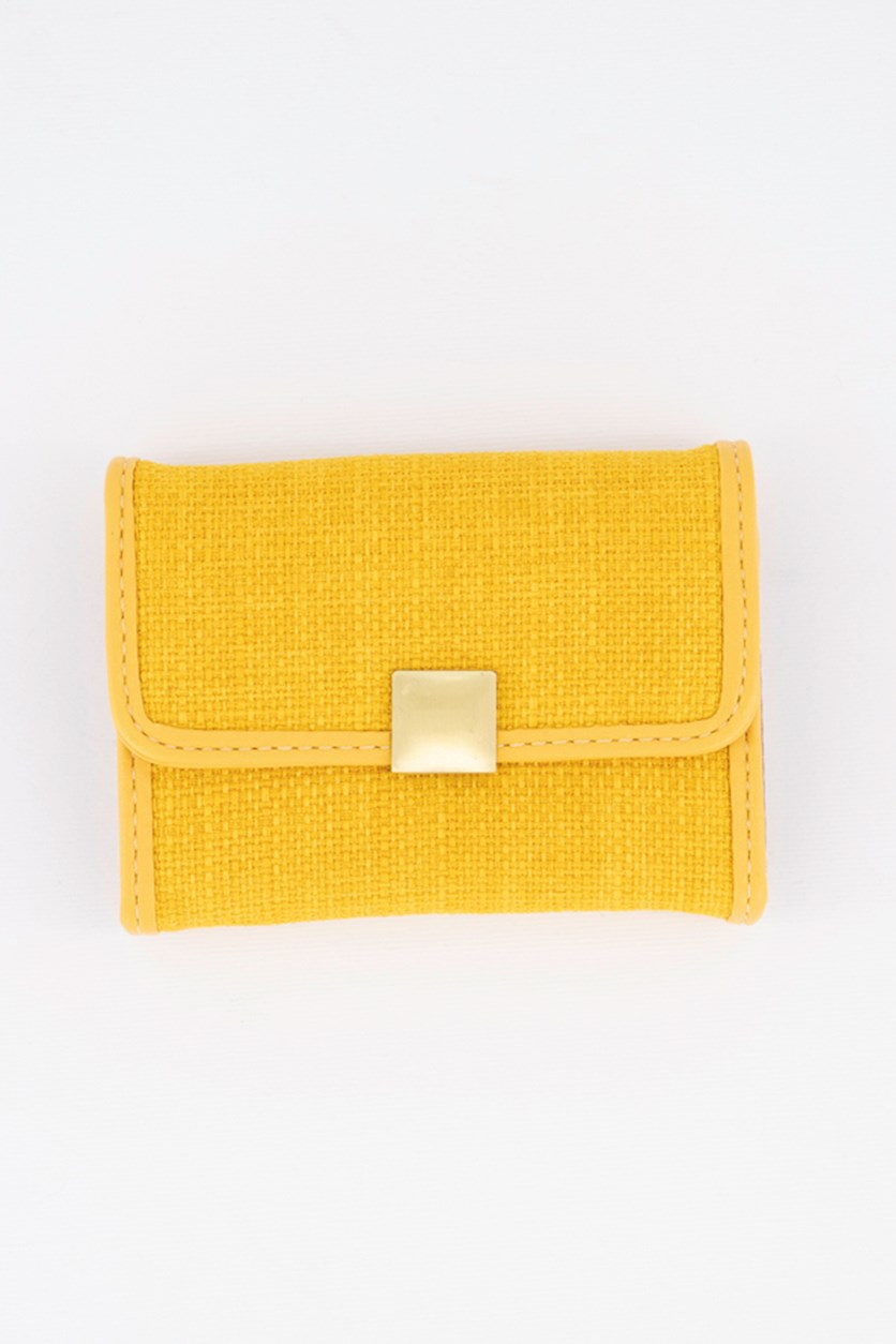 Card Holder With Press Stud, Yellow