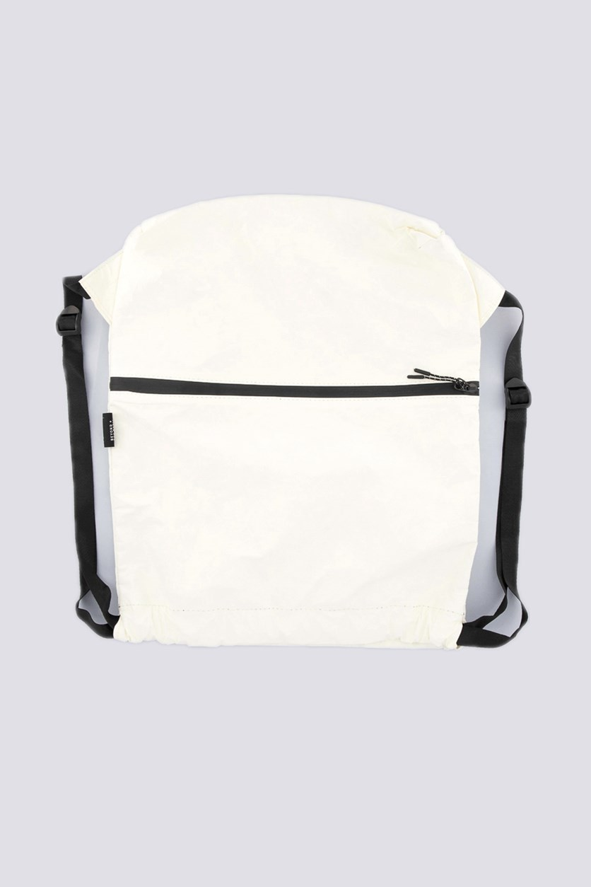 Paper Backpack with Drawstring, White