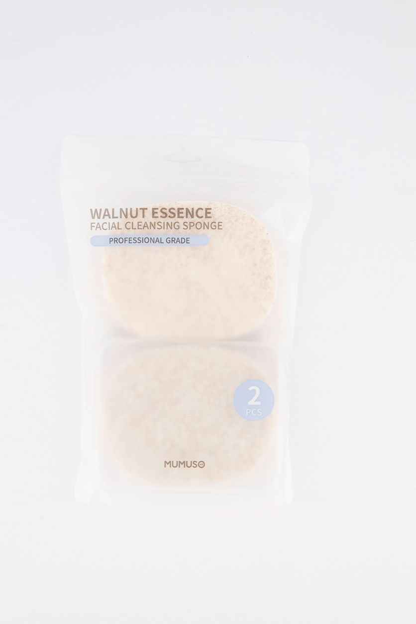 Facial Cleansing Sponge Set of 2, Walnut Essence