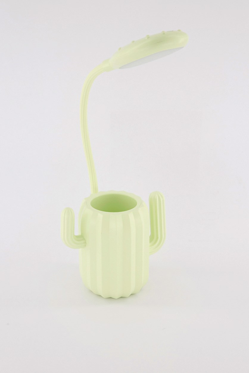 Cactus Table Lamp with Pen Holder, Green