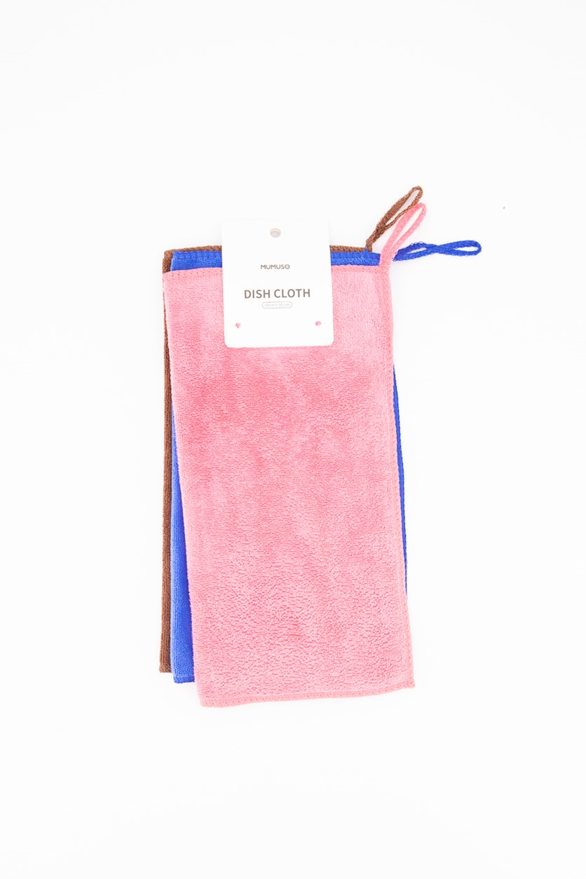 Dish Cloth Set Of 3, Pink/Blue/Brown