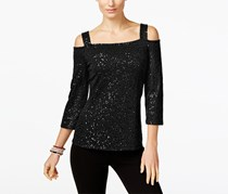 INC International Concepts Sequin Cold-Shoulder Top, Black