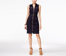 Inc International Concepts Belted Zip-Front Denim Dress, Indigo