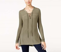 American Rag Women's Crochet-Trim Lace-Up Waffle-Knit Top, Olive
