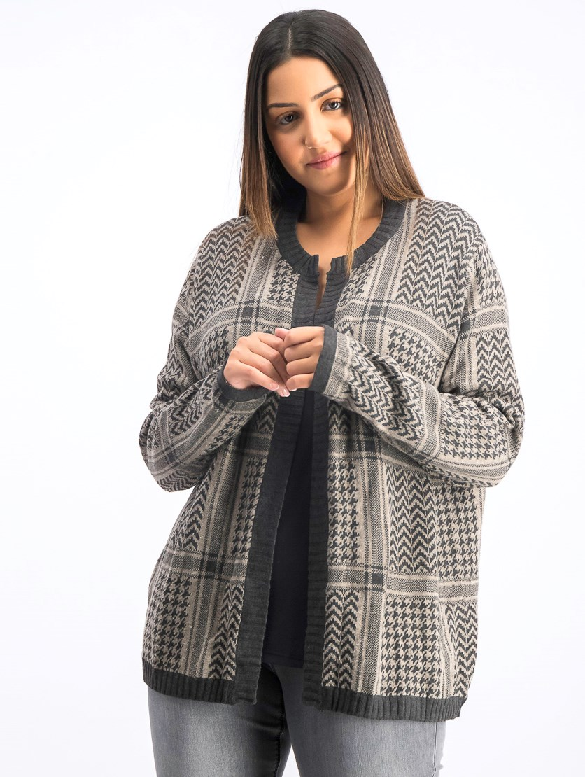 Women's Plus Size Herringbone Cardigan, Dark Gray