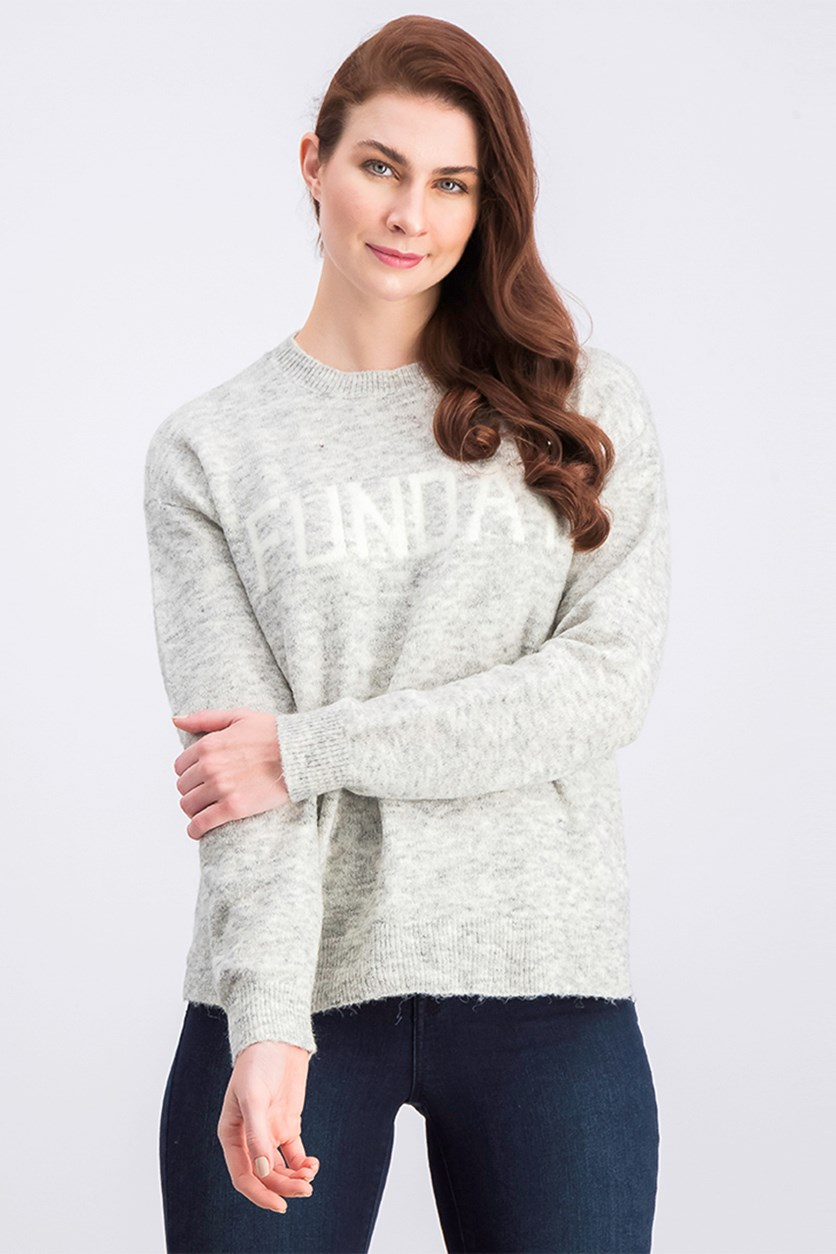 Women's Funday Print Sweater, Light Gray