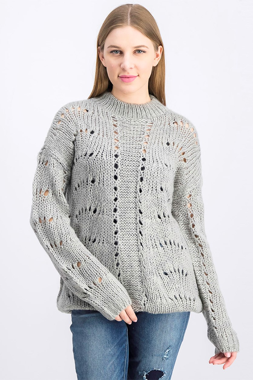 Women's Pointelle Sweater, Gray