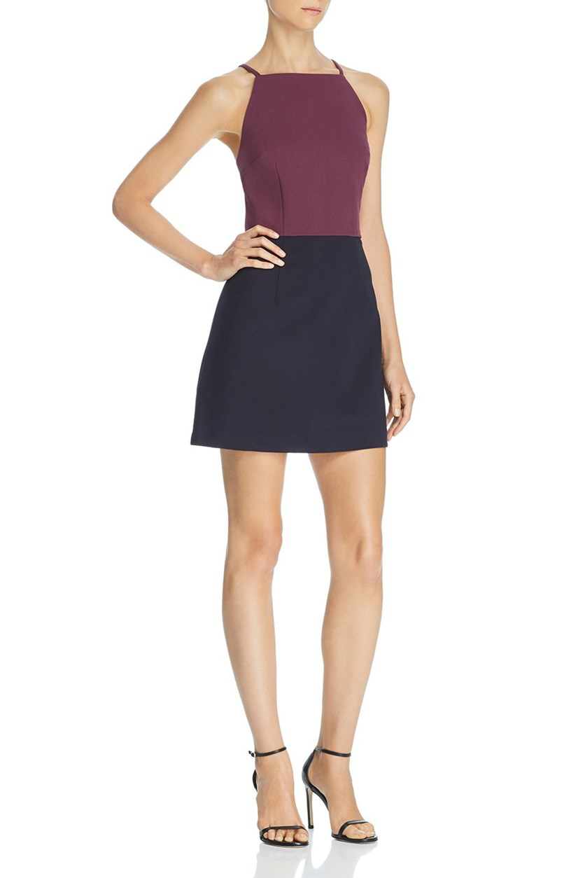 Women's Colorblock Mini Party Dress, Black