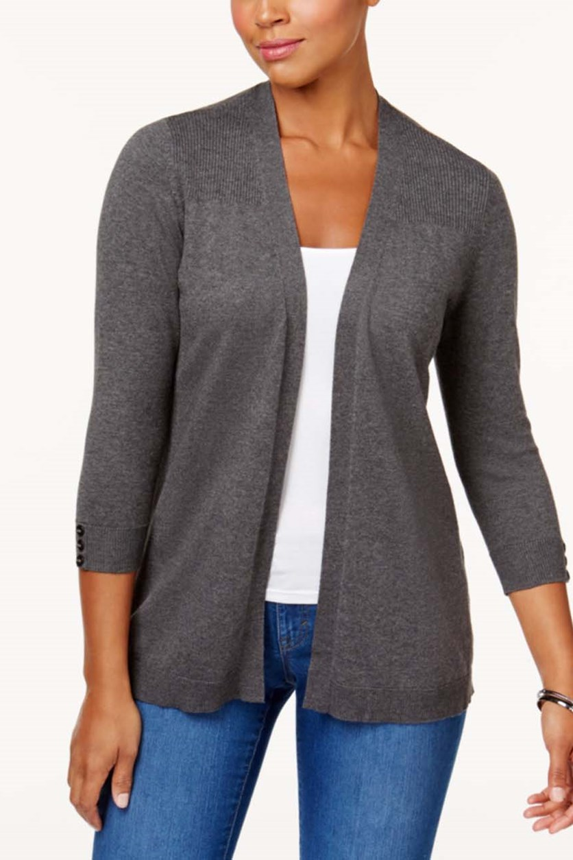 Women's Plus Open-Front Cardigan, Charcoal