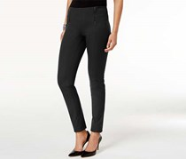 Alfani Petite Double-Zip Skinny Pants, Deep Black